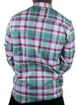 WeSC Vernon Blanco Espárrago Verde Azul Rojo Cuadros Informal con Botones Camisa image 2