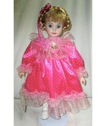 Ansco Gorgeous Doll Pink Polka Dot Dress with Tag 1992 16 Inches tall Po... - $14.95