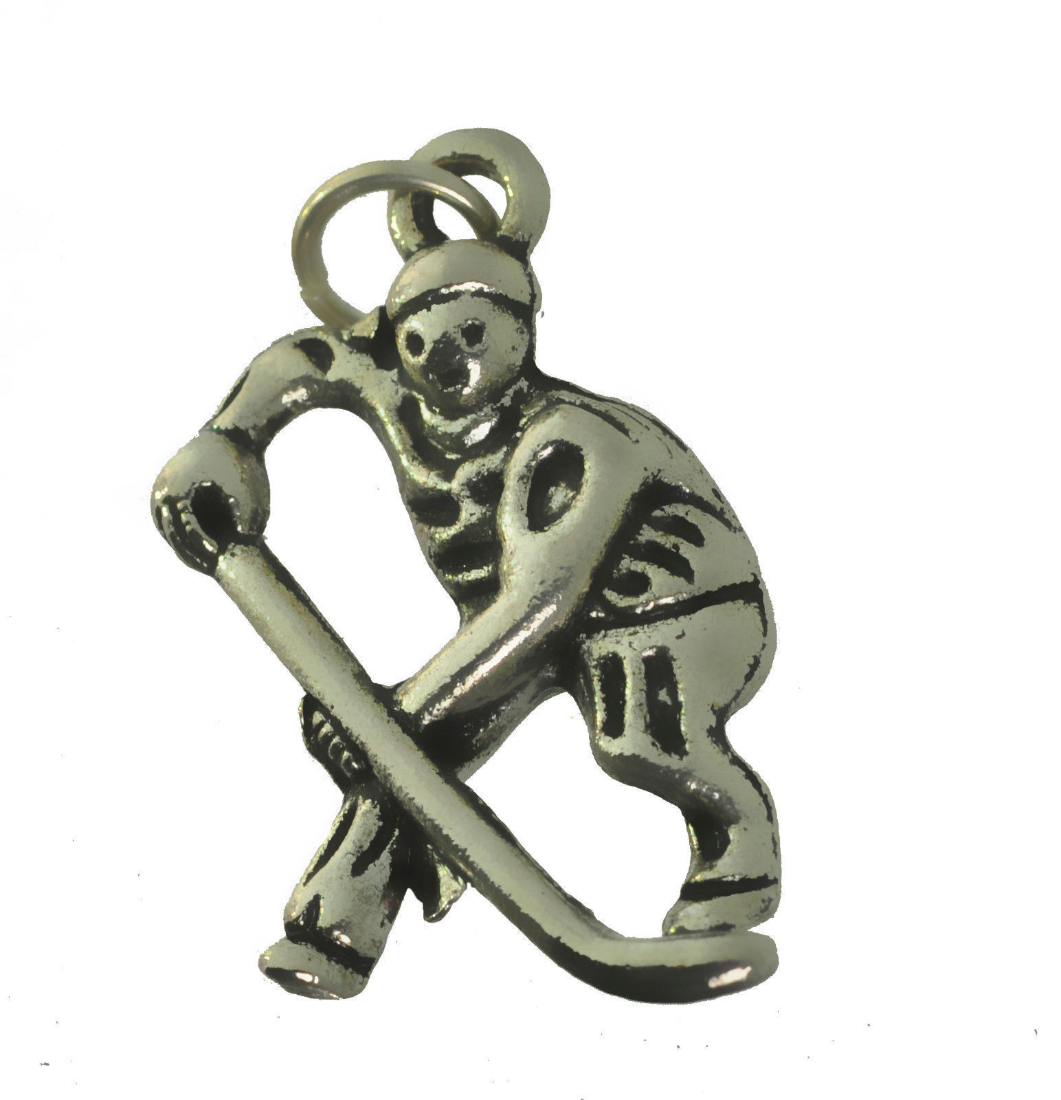 NICE Sterling Silver 925 Handmade Hockey Player 3D charm Jewelry stick puck team