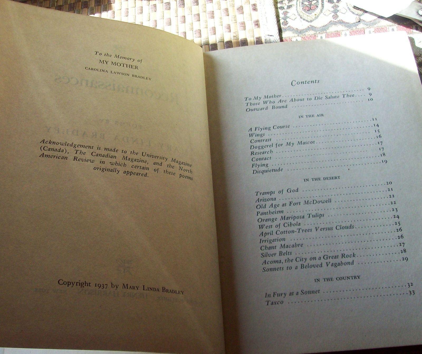 Reconnaissances by Mary Linda Bradley 1937 HB Poems