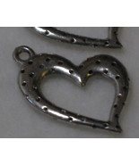 2 - Pewter Dotted Heart Charms - Approx. 20mm - $2.50