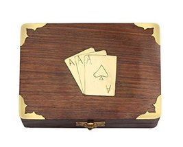 Classic Wooden Playing Cards Holder Double Deck Case Storage Box with Br... - $9.91