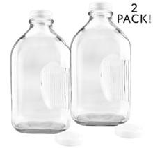 2-Quart Glass Milk Bottles w/Side Grip 2-Pack; Clear Glass Rectangular V... - $23.92