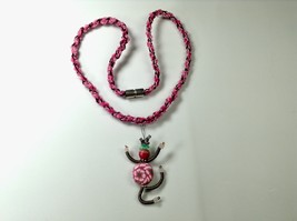 Dancing Woman Necklace 22 Inches Pink Flowers Handmade Polymer Clay Pend... - $34.99