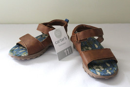 NEW Carter's Adorable Brown Leather Like Sandals Toddlers KEATON Shoes 11 - $20.40