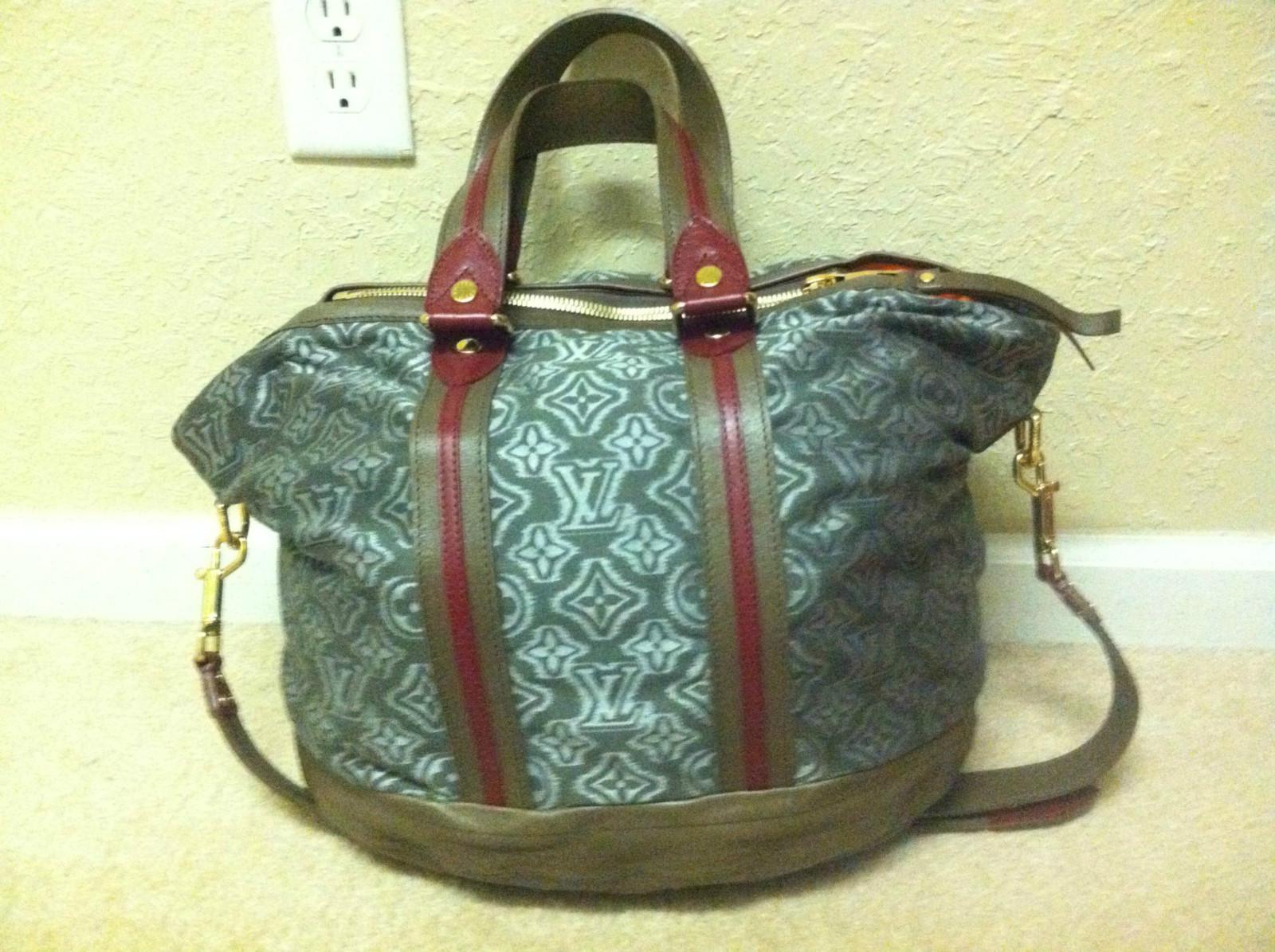 Louis Vuitton Khaki Jacquard Monogram Fabric Aviator Handbag Bag Purse, $3270!!! - $2,599.00
