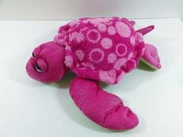 "14"" K&M Pink Sparkly Big Eyes Sea Turtle Plush Stuffed Animal Toy Girl B206 - $14.99"