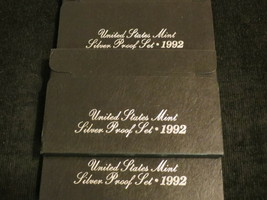 LOT OF 3 UNITED STATES US MINT 1992 SILVER PROOF COIN SETS 15 COINS TOTAL - $50.00