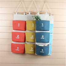 3 Pouch Wall Hanging Storage Bags Organizer Cotton Linen Closet Hanging Bag - €7,88 EUR