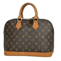 Auth Louis Vuitton Monogram Hand Bag Brown Alma Leather Zipper Logo LVB0729 - $485.10