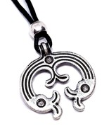 Luna Moon Viking Lunula Slavic Asgard Talisman Beaded Cord Necklace - $8.09