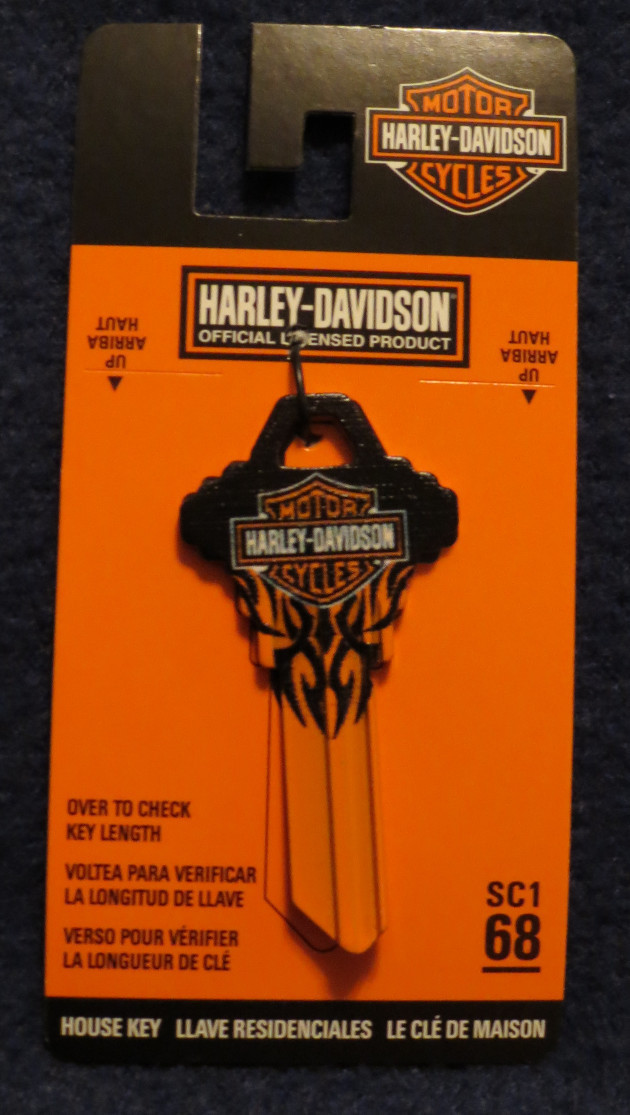 Primary image for HARLEY DAVIDSON HOUSE BLANK HOUSE KEYS SCHLAGE SC1  BLACK AND ORANGE