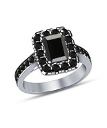 1.35ct Black Enerald Diamond Art Deco Engagement Ring Solid 925 Sterling... - $68.99
