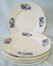 Vodrey China Ship and House Luncheon Plate set of 6, Vintage - $36.52