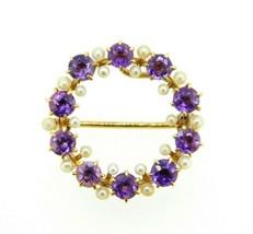 14k Yellow Gold Victorian Amethyst and Pearl Circle Pin (#J4438) - $395.00