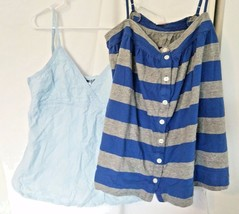 Set of VICTORIAS SECRET PINK PACIFIC GIRL Womens SHIRTS Camis Blues Stra... - $18.95
