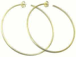 Silver Earrings 925 Circles Diameter 9,5 cm Thickness 2 mm Golden Satin image 2