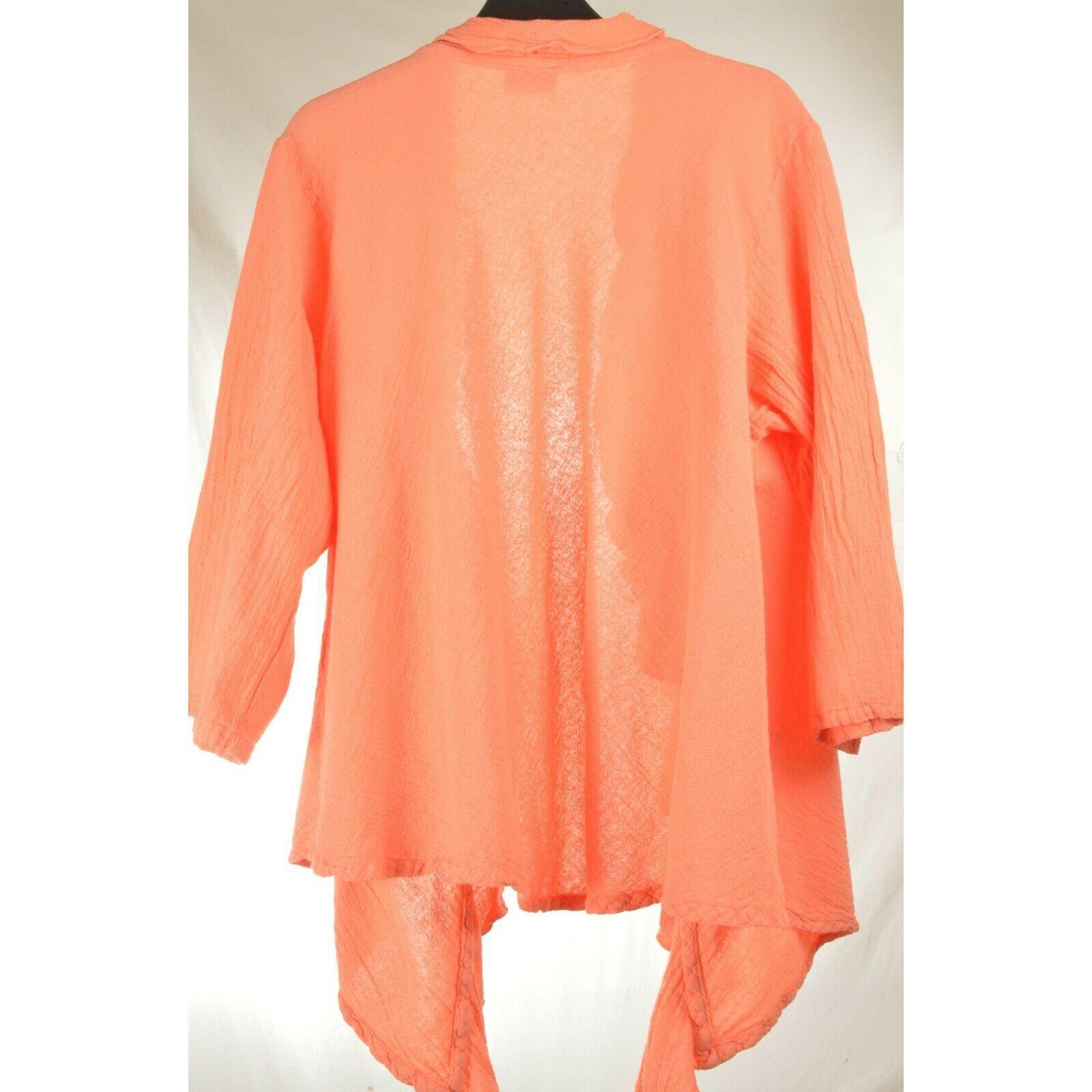 Oh My Gauge jacket cover open OS orange sherbet long sleeve ruffle front hi lo image 5