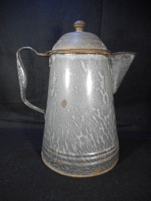 "Vintage Gray Enamelware Graniteware 10"" Coffee Pot with Hinged Tin Lid"