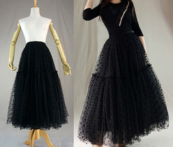 Tulle Midi Skirt Women A-line Black Tulle Skirt Black Dot Party Tutu Midi Skirt