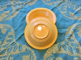 2 Homer Laughlin Yellow Harlequin Oatmeal Bowls, Small Harlequin Cereal Bowls  - $29.95
