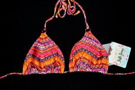 LULI FAMA Swim Top Small S NEW Red Orange Ron Y Paraiso Swimwear Triangl... - $34.97