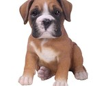 Realistic Look Statue Brown Boxer Puppy Dog Home Decorative Resin Figurine