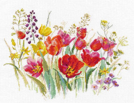 Cross Stitch Kit Hand Embroidery Field of Tulips Flowers - $31.90