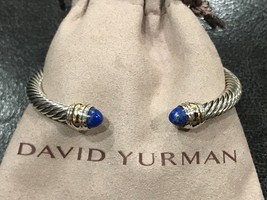 David Yurman Sterling Silver 14k Gold Lapis Lazuli 5mm Cable Classic Bracelet - $299.99
