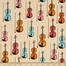 RJR Perfect Pitch Violins Cream Dan Morris 2457 100% cotton Fabric Remna... - $7.83