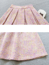 Pink Winter Tweed Skirt A-line High Waisted Pink Midi Tweed Skirt image 10