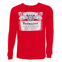 Budweiser Label Long Sleeve Tee Shirt Red - $34.98+