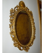 Home Interiors Wall Mirror Oval Hollywood Regency Syroco Gold Tone  - $99.00