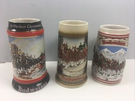 3 Budweiser Beer Clydesdale Steins Lot of 3 Holiday Collectible 1990s Christmas - $35.64