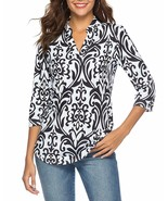 CEASIKERY Women's 3/4 Sleeve Floral V Neck Tops Casual Tunic Blouse Loos... - $30.44+