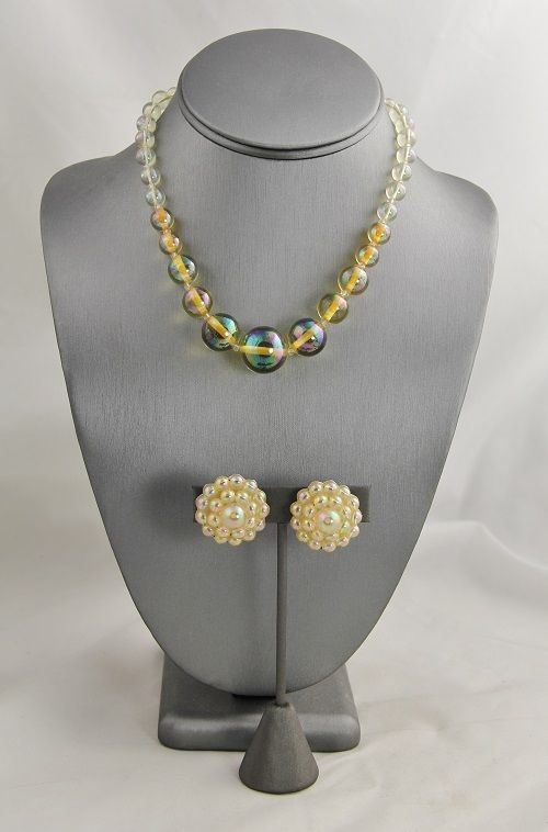 ANTIQUE ART DECO Jewelry PLASTIC BEAD NECKLACE EARRING SET STERLING CLASP