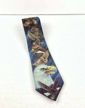 Ralph Marlin Neck Tie Blaine Heilman Birds of Prey Bald Eagle Owl Hawk 1... - $18.23