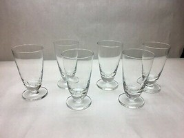 VINTAGE Set of 6 THICK Round BASE Blown GLASS Water GLASSES Plain DESIGN... - $37.86