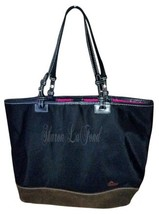 Dooney & Bourke # J6725995 tote in black nylon with suede a brown base. - $85.00