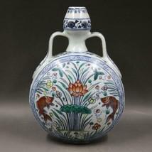 Fine Chinese Ming Dou Polychrome Porcelain Fish Vase - $278.28