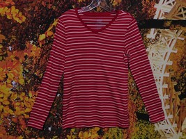 WOMEN'S LONG SLEEVE PULLOVER STRIPED BLOUSE BY FADED GLORY / SIZE M (8-10) - $7.99