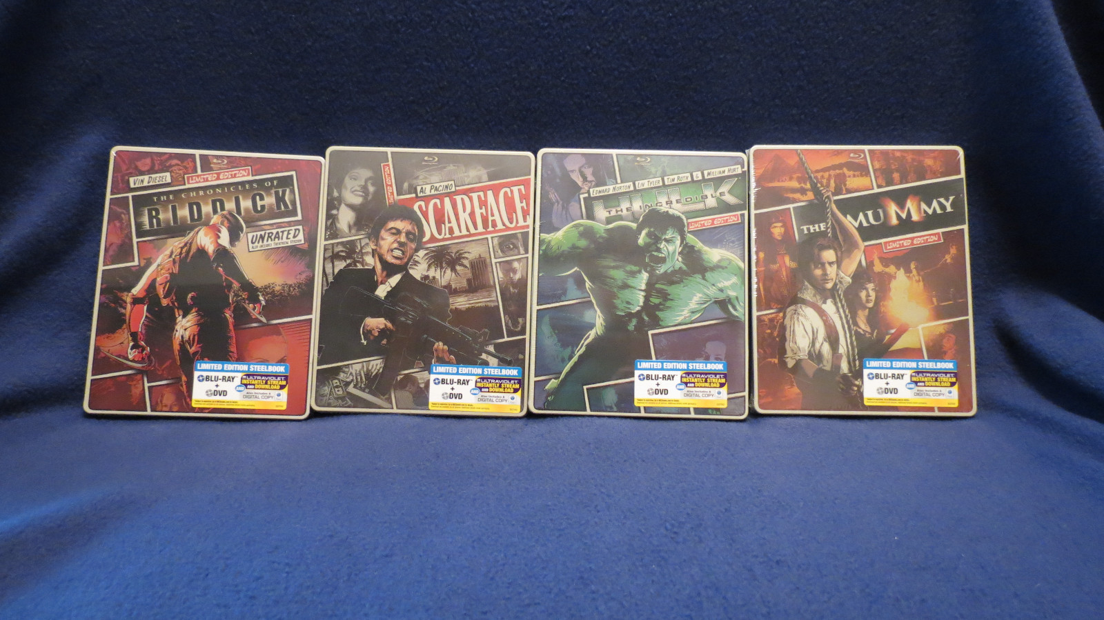 Primary image for  Steel Book Blu Ray Movies-The Mummy, Incredible Hulk, Riddick, Scarface