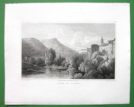 ITALY Tivoli above Falls - 1820 Antique Print by Miss BATTY Engraving - $30.60
