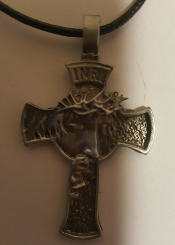Jesus Christian Cross With Black Leather Necklace