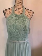DAVID'S BRIDAL Bridesmaid Dress Sz 8 Lace Chiffon Mint Halter F17020 - $9.89