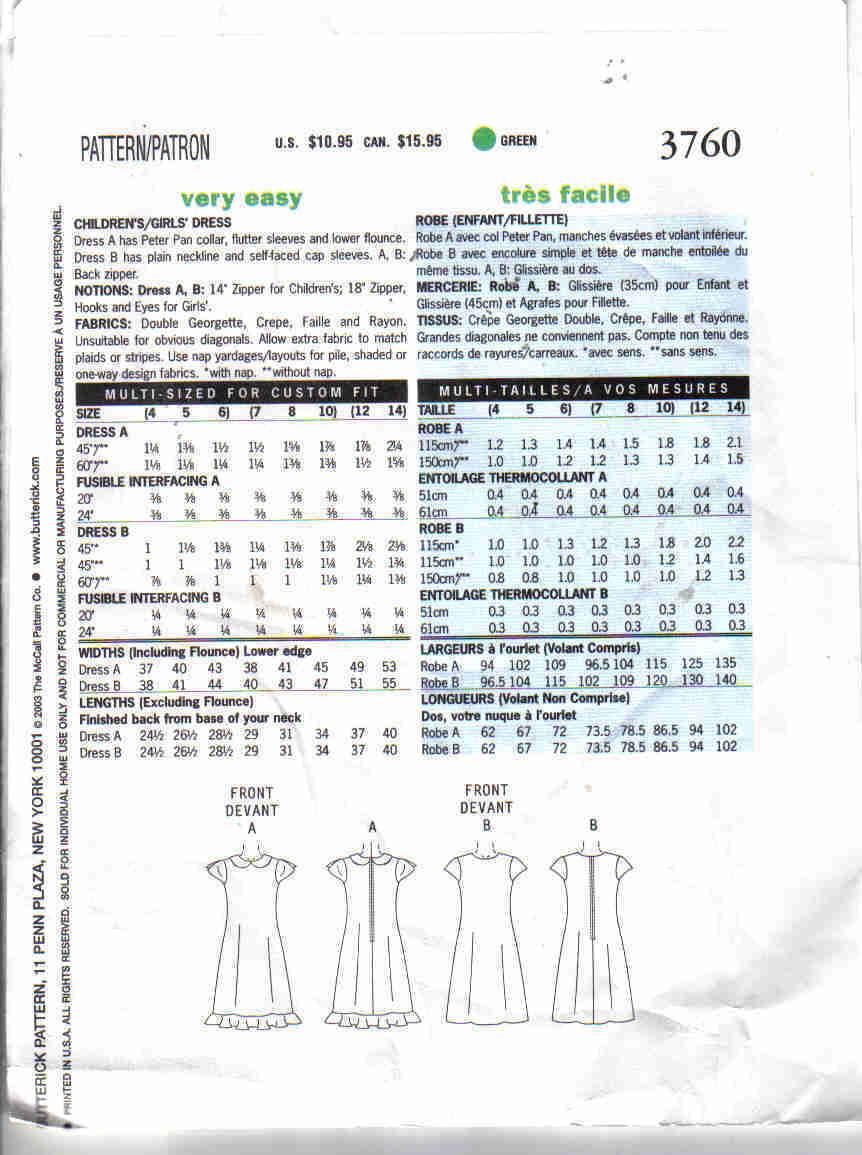 Butterick 3760 very easy Pattern 4 5 6 girls ruffle Dress