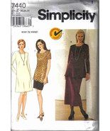 Simplicity 7440 easy Pattern 20 22 24 dress tunic top skirt career - $7.77