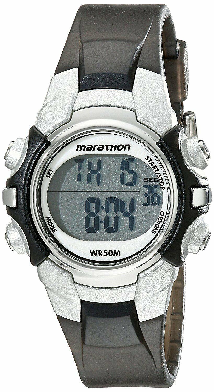 Damen Marathon Von Timex Schwarz-Silber Digital Mittlere Größe Uhr T5K805M6 Nwot