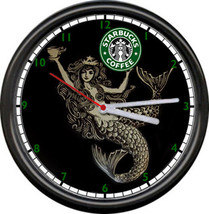 Starbucks Coffee Latte Espresso Shop Stand Old Mermaid Logo Sign Wall Clock - $21.12