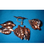 Vintage  Jewelry Copper Leaf Pins & Earrings set - $18.00